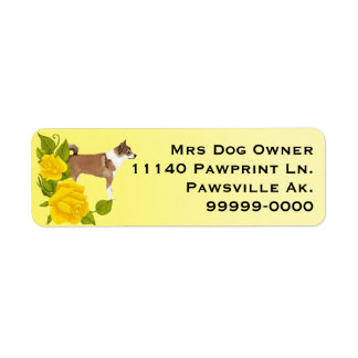 Norwegian Lundehund on yellow with yellow roses Label