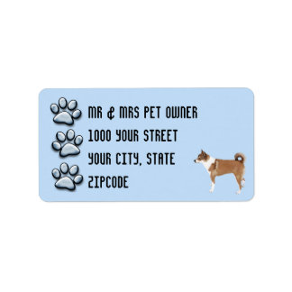 Norwegian Lundehund with 3 Blue Pawprints Label