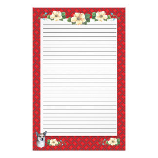 Norwegian Lundehund with Red Ribbon Floral [Lined] Stationery