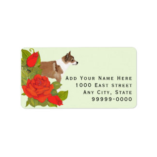 Norwegian Lundehund with Red Roses on Green Label