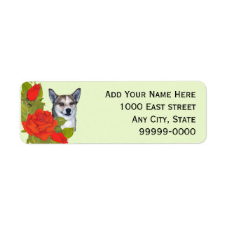 Norwegian Lundehund with Red Roses on light green Label