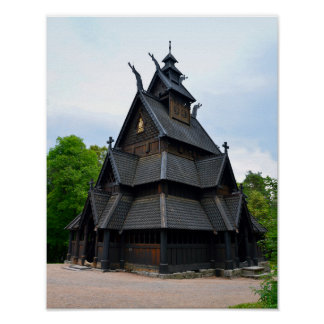 Norwegian Medieval Stave Church Poster