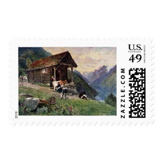 Norwegian milk maids' cabin postage stamps
