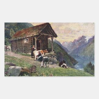 Norwegian milk maids cabin rectangle sticker