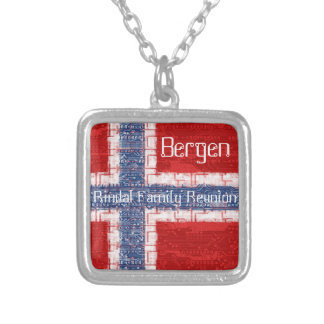 Norwegian Motherboard Theme Square Pendant Necklace