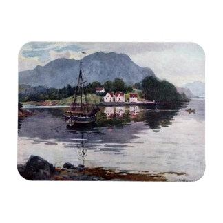 Norwegian nature getaway rectangular photo magnet