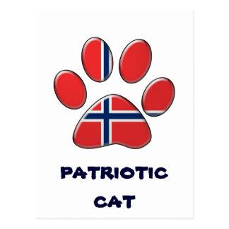 Norwegian patriotic cat postcard
