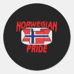 Norwegian pride classic round sticker