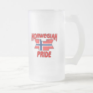 Norwegian pride frosted glass beer mug