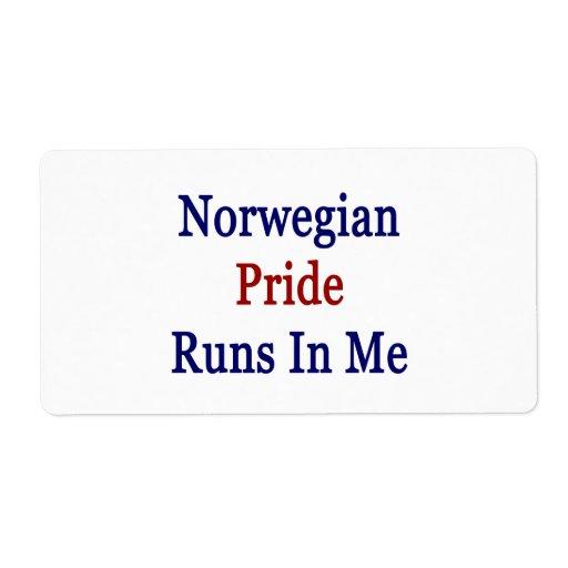 Norwegian Pride Runs In Me Shipping Label