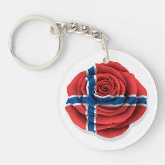 Norwegian Rose Flag on White Keychain