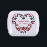 """Norwegian Rosemaling Heart Personalized Candy Tin<br><div class=""""desc"""">Great for wedding favors or for special occasion treats! Customize this candy tin with name, date or other memorable event. Traditional Scandinavian heart design from Norway with scrolled rosemal flowers, leaves and hearts. Red, blue, green on white. Personalize it for your honored guests or for your sweetheart. From Scandinavian Gifts....</div>"""
