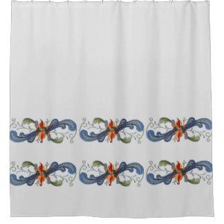 Norwegian Rosemaling Scandinavian Folk Art Scrolls Shower Curtain