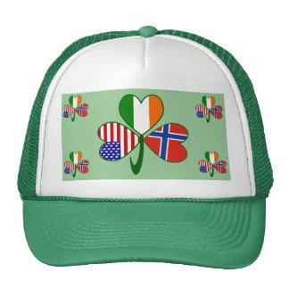 Norwegian Shamrock Green Background Trucker Hat