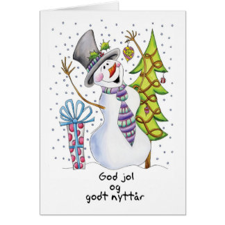 Norwegian - Snowman - Happy Snowman - God jol Card