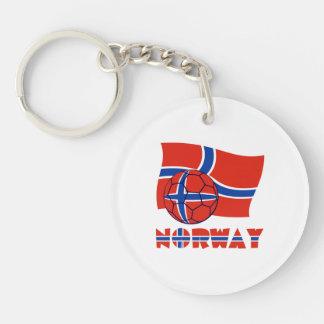 Norwegian Soccer Ball and Flag Keychain