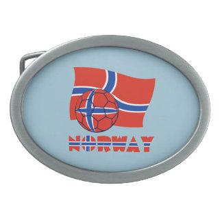 Norwegian Soccer Ball and Flag Oval Belt Buckle