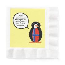 Norwegian Talking Penguin Flag - Norsk Penguin Paper Napkin