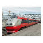 Norwegian train arrives at Oslo S Post Cards