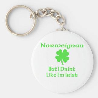 Norweigna pero yo bebe como soy irlandés llavero redondo tipo pin