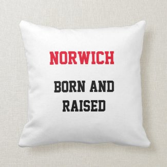 Norwich Born and Raised Throw Pillow