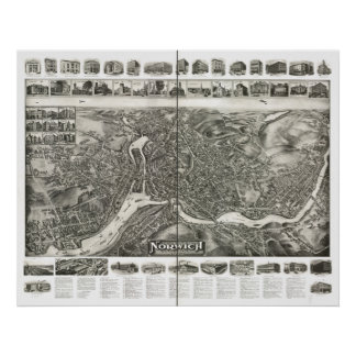 Norwich Connecticut 1912 Panoramic Map Poster