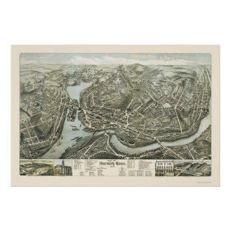 Norwich CT Panoramic Map - 1876 Posters