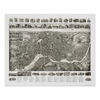 Norwich CT Panoramic Map - 1912 Poster
