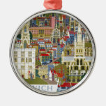Norwich England Round Metal Christmas Ornament