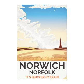 Norwich, Norfolk vintage style rail travel poster Canvas Print