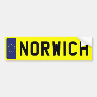 NORWICH Number Plate Bumper Sticker