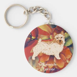 Norwich Terrier - Autumn Flower Design Keychain