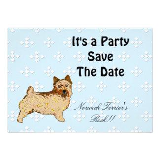 Norwich Terrier - Blue w White Diamond Design Invitation