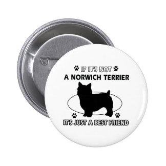 Norwich Terrier dog breed designs Button
