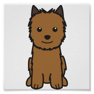 Norwich Terrier Dog Cartoon Poster