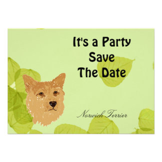Norwich Terrier Green Leaves Designs Personalized Invitation