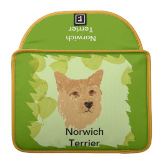 Norwich Terrier ~ Green Leaves Designs Sleeve For MacBook Pro
