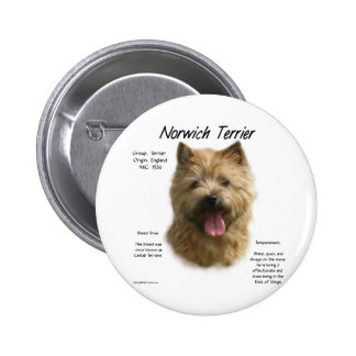 Norwich Terrier History Design Buttons