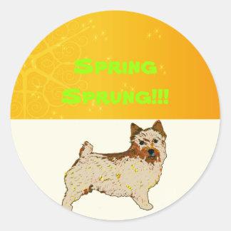 Norwich Terrier - la derecha del perfil del cuerpo Pegatina Redonda