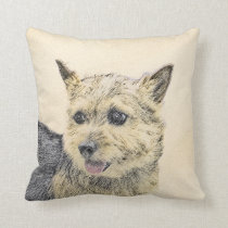 Norwich Terrier Painting - Cute Original Dog Art Throw Pillow
