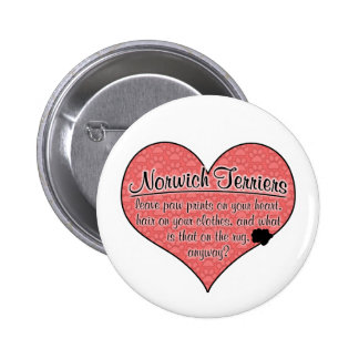 Norwich Terrier Paw Prints Dog Humor Button