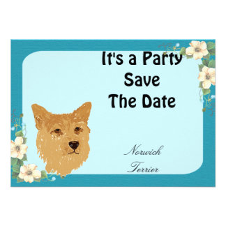 Norwich Terrier - Turquoise Floral Design Personalized Invitation
