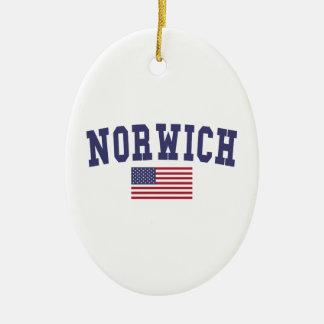Norwich US Flag Ceramic Ornament