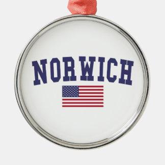 Norwich US Flag Metal Ornament