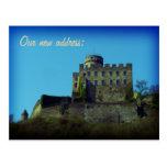 Nos hemos movido, nueva dirección, tarjeta medieva postal
