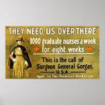 Nos necesitan allí enfermera del vintage del ~ póster