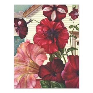 """Nos tengo he movido las flores de la petunia de la invitación 4.25"""" x 5.5"""""""