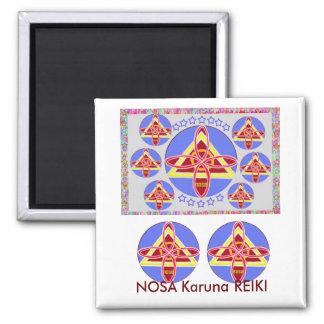 NOSA - Karuna REIKI symbol art by Navin Joshi 2 Inch Square Magnet