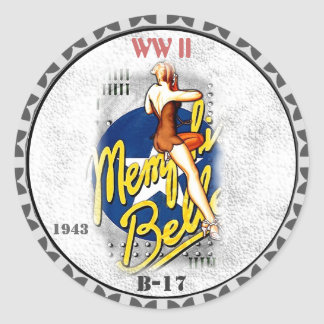 Nose Art - WW II- B-17 Bomber Classic Round Sticker