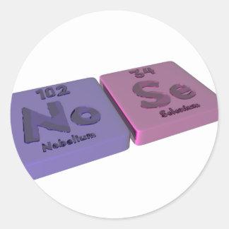 Nose as No Nobelium and Se Selenium Classic Round Sticker